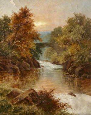 Wooded River Landscape with a Bridge
