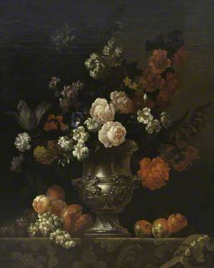 Still Life of a Silver Urn with Flowers and Fruit on a Ledge