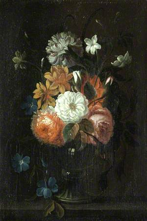 Still Life of Flowers in a Vase on a Ledge
