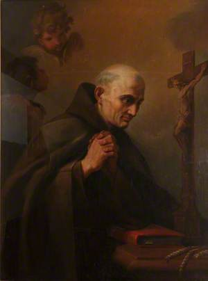 A Franciscan Saint in Prayer before a Crucifix