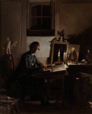 Self Portrait of the Artist Engraving a Portrait of Percival Pott