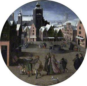 The Four Seasons, Winter: Snow Scene, a Town under Snow