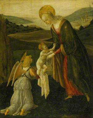 The Madonna and Child with an Angel in a Coastal Landscape