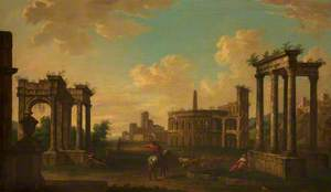 A Capriccio of Roman Ruins with Rustic Figures