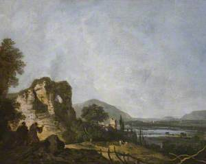 A Classical Landscape with Monks Praying before a Ruin