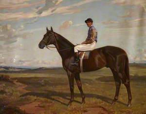 'Polemarch', a Bay Racehorse on a Heath, with Jockey Up