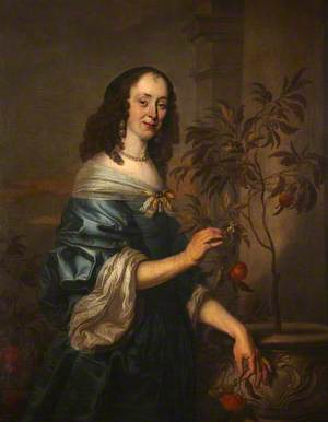 Portrait of an Unidentified Lady in a Blue Dress, Fingering an Orange Sapling