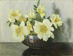 Yellow Roses in a Bowl