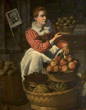 A Woman Selling Fruit, with a Pilgrimage Banner