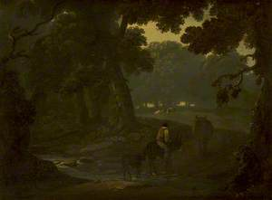 Wooded Landscape with a Herdsman Crossing a Stream on a Donkey