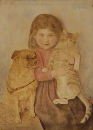 Child with Pet Cat and Dog