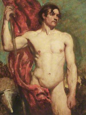 Academic Study of a Male Nude as a Standard Bearer