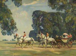 The Royal Carriage Entering the Long Walk, Windsor, on the Return from the Ascot Races, 1925