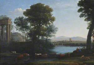 A Classical Landscape with Cattle Crossing a Stream