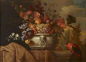 Fruit in a Pewter Bowl with a Parrot
