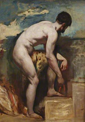 An Academic Nude of a Man Tying His Sandal