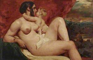 A Female Nude Embraced by a Small Child