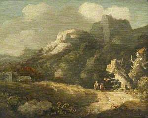 A Rocky Landscape with Two Travellers