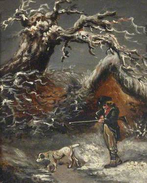 A Winter Scene, with a Sportsman and a Dog