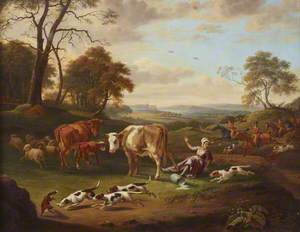 The Royal Buckhounds, Chasing a Fox and Upsetting a Milkmaid, with Windsor Castle in the Distance