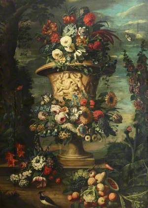 An Urn Filled and Garlanded with Summer Flowers and Autumn Fruit