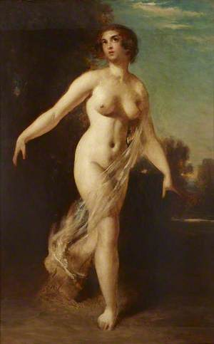 A Female Nude Striding in a Landscape