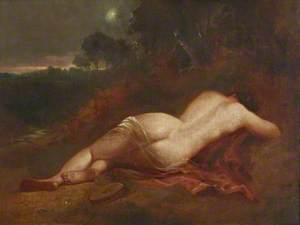 A Female Nude Asleep in a Landscape with the Evening Star