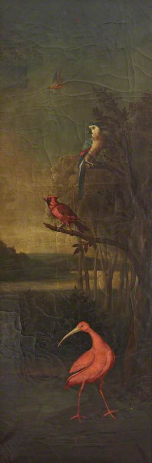 Birds in a River Landscape: A Red Stork, a Red Finch, a Macaw and a Bird in the Air