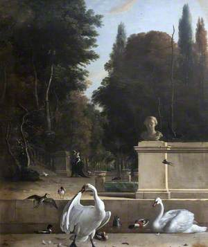 View of a Park with Swans and Ducks