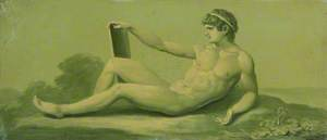 One of a Set of 16 Mythological Panels, Painted in Shades of Green: A Reclining Male Nude