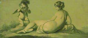 One of a Set of 16 Mythological Panels, Painted in Shades of Green: Venus, with Cupid Trying on Mars's (?) Helmet