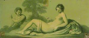 One of a Set of 16 Mythological Panels, Painted in Shades of Green: A Reclining Nude and a Satyr