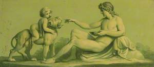 One of a Set of 16 Mythological Panels, Painted in Shades of Green: A Seated Male Nude with a Boy Riding a Panther (?)