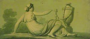 One of a Set of 16 Mythological Panels, Painted in Shades of Green: A Reclining Female with an Urn