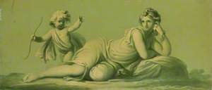 One of a Set of 16 Mythological Panels, Painted in Shades of Green: Venus and Cupid (?)