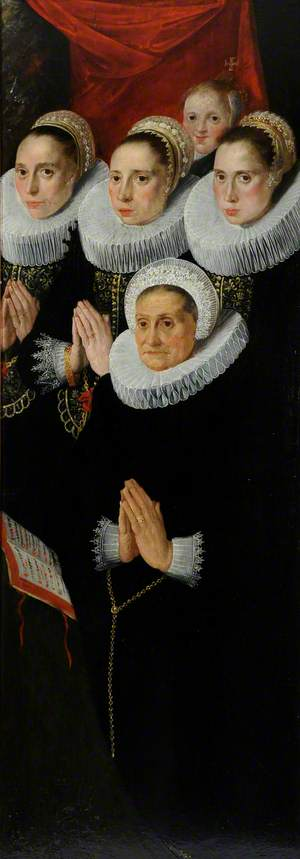 Part of a Diptych: Five Donor Figures of Women, Dressed in Black with White Ruffs, Praying