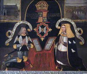 A Copy of the East Window in Loddon Church, with the Kneeling Figures of Sir James Hobart (1436–1507), PC, MP, JP, and His Third Wife, Margaret Naunton (d.1494), Lady Hobart, the Widow of John Dorward