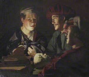 Three Men Examining an Antique Head by Candlelight