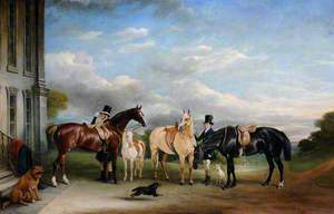 Grooms and Horses in front of Calke Abbey