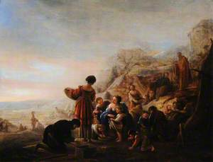 The Israelites Gathering Manna in the Wilderness