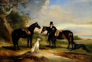 A Groom (Frank Spence) with Two Ponies and Two Greyhounds in a Landscape