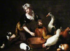 A Young Cookmaid Watering Poultry, with a Cat and Guinea Pigs