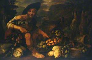 A Fruit Seller Surrounded by Various Fruits in a Wicker Basket