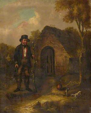 A Rustic Male Standing beside Norwell with Two Dogs