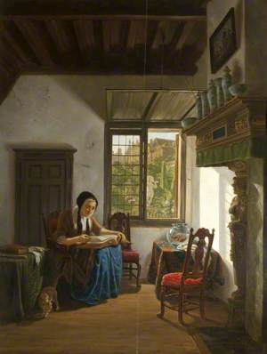 Cottage Interior, with an Old Woman Reading the Bible