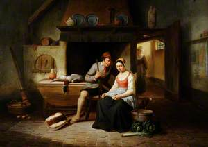 A Cottage Interior with a Man Courting a Maid
