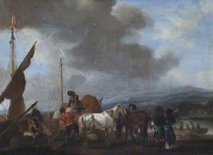 Men Loading a Boat at Scheveningen