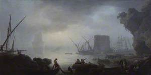 Italian Harbour Scene on a Misty Morning