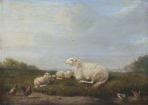 A Ewe and Two Lambs with Poultry in a Landscape
