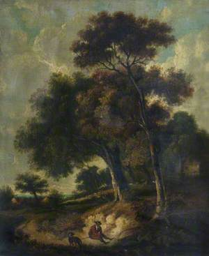 Man and Dog on a Path in a Wooded Landscape